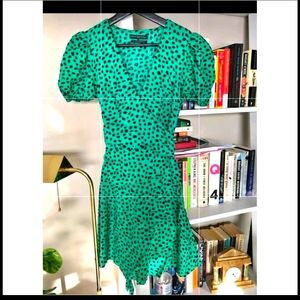 Urban Outfitters Green wrap dress w/ Puff Sleeves